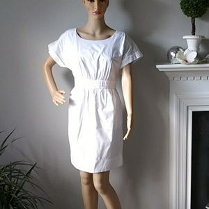 Anthro HD in Paris white midi dress w/sleeves